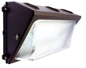 Wall mounted LED lighting fixture with a standard design in a fixed position for broad area lighting