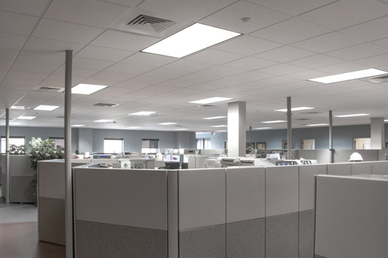 LED troffer lighting fixtures on the ceiling of an office building illuminating the entire office space