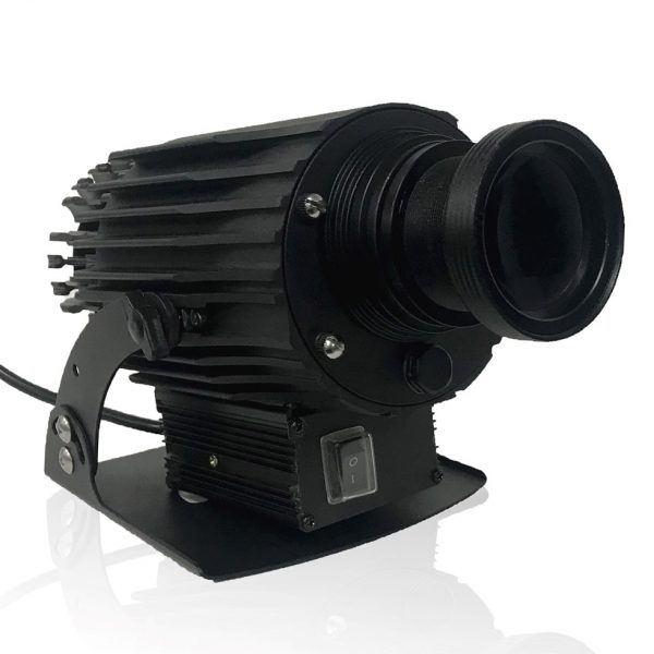 Black LED camera shaped projector used to display warning logos for worker safety