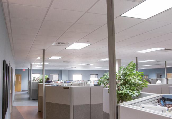 Square shaped LED commercial lighting fixtures providing bright illumination throughout an office space
