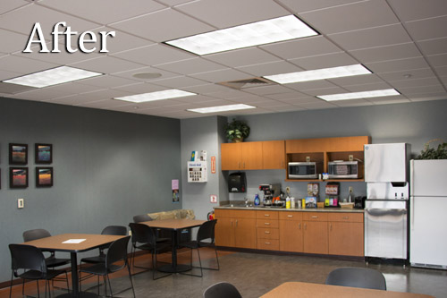 Brightly illuminated office break room after switching fluorescent lights to Straits Tri Line T8 LED Troffer Lights