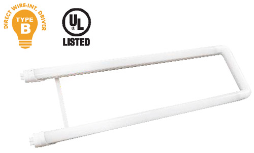 Two foot U-shaped LED T8 Tube with prongs on each end for easy installation