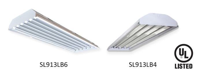 Robust LED low bay fixture with four slots for LED tube lamps